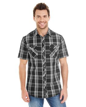 Burnside B9202 Mens Plaid Pattern Woven