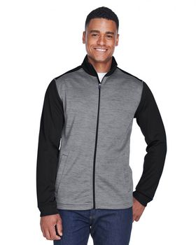 Devon & Jones DG796 Mens Newbury Colorblock Mélange Fleece Full-zip