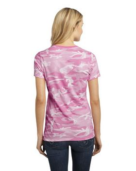 District DM104CL Ladies Camo Crew Tee