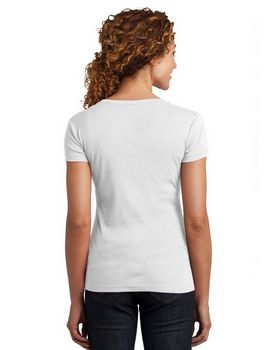 District Made DM401 Ladies Mini Rib V Neck Tee