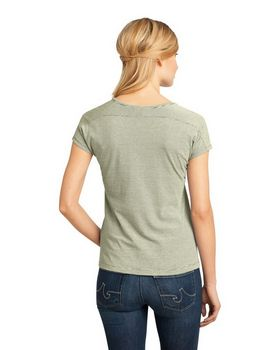 District DM422 Ladies Mini Stripe V-Neck Tee