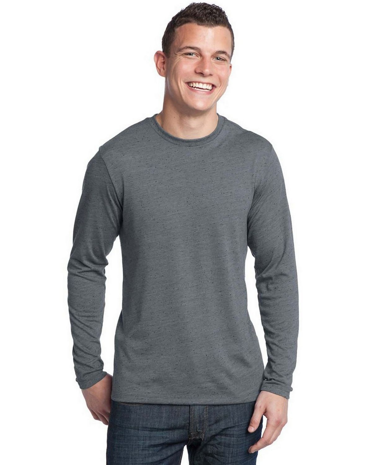 District DT171 Young Mens Textured Long Sleeve Tee