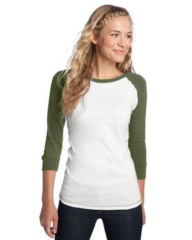 District DT226 Juniors 3/4-Sleeve Perfect Weight Raglan Tee