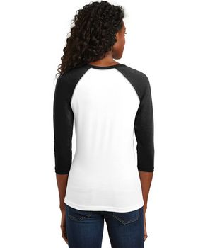 District DT228 Juniors 3/4 Sleeve Raglan Tee