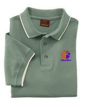 Harriton M210 Mens Short-Sleeve Pique Polo with Tipping