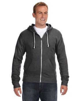 J America J8872 Adult Tri-Blend Full-Zip Hooded Fleece