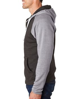 J America J8874 Adult Tri-Blend Hooded Fleece
