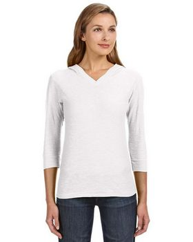 J America JA8153 Ladies 3/4-Sleeve Hooded Slub T Shirt