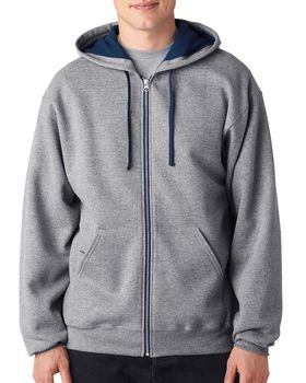 Jerzees J93 Adult Contrast Full Zip Hooded Sweatshirt
