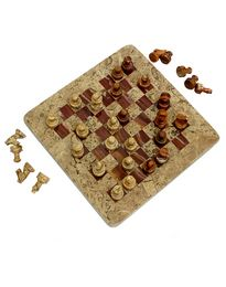 Natures Artifacts Red Onyx and Fossil Coral 12 Inch  Chess Set with Coral Border