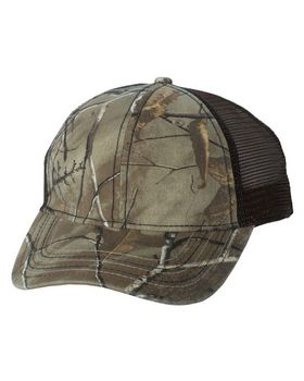Outdoor Cap Camo Cap with Mesh Back and American Flag