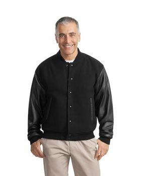 Port Authority J783 Wool and Leather Letterman Jacket