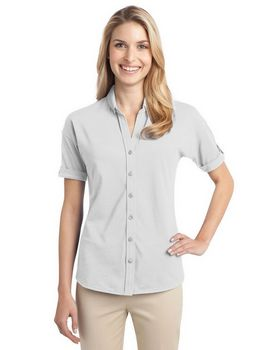Port Authority L556 Ladies Stretch Pique Button Front Shirt