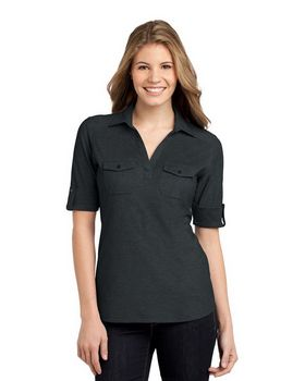 Port Authority L557 Ladies Oxford Pique Double Pocket Polo