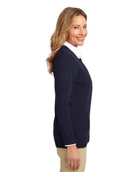 Port Authority LSW304 Ladies Value Jewel-Neck Cardigan
