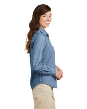 Port & Company LSP10 Ladies Long Sleeve Value Denim Shirt