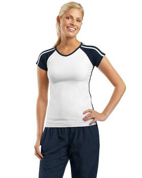 Sport-Tek L205 Ladies V Neck Colorblock T Shirt