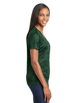 Sport-Tek LST370 Ladies CamoHex V-Neck T-Shirt
