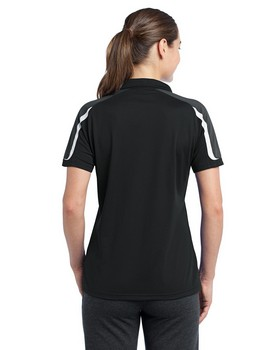 Sport-Tek LST658 Women Tricolor Shoulder Micropique Sport-Wick® Polo