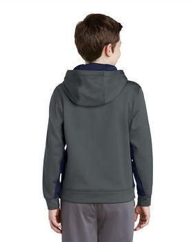 Sport-Tek YST235 Youth Sport-Wick Fleece Colorblock Hooded Pullover