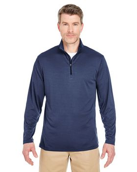 Ultraclub 8235 Adult Striped 1/4-Zip Pullover