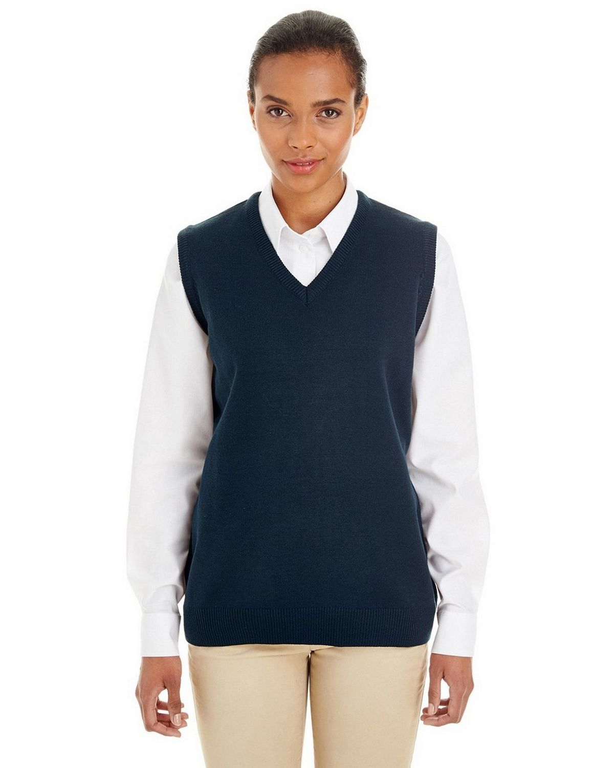 Harriton M415W Ladies Pilbloc V-Neck Sweater Vest - ApparelnBags.com