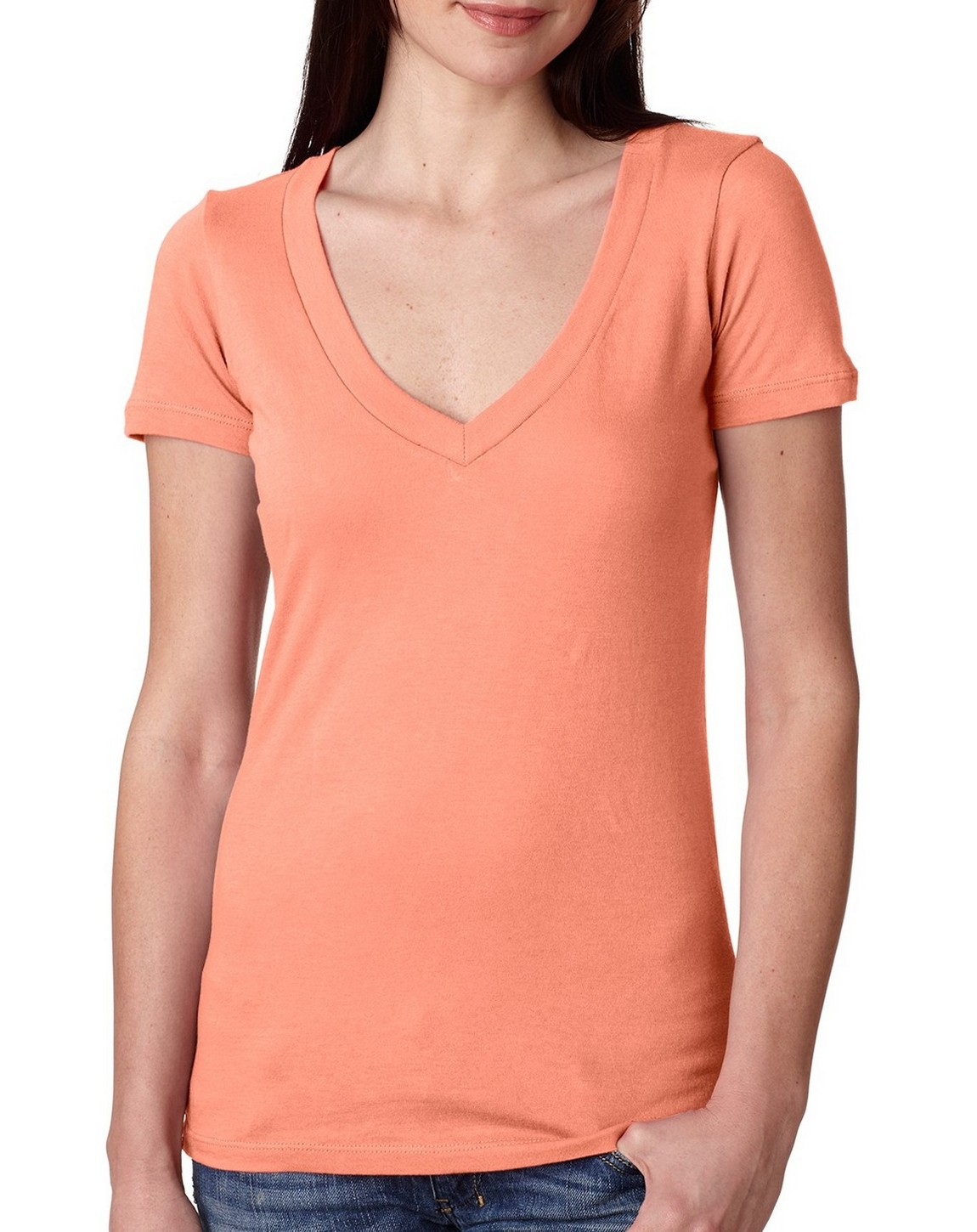 Next level 3540 ladies deep v neck tee for Next level homes